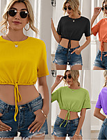 cheap -Women's Crop Top Tee / T-shirt Crop Top Crew Neck Solid Color Sport Athleisure T Shirt Top Short Sleeves Breathable Soft Comfortable Everyday Use Street Casual Daily Outdoor