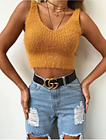 cheap -Women's Stylish Disco Open Back Knitted Solid Color Vest Sleeveless Sweater Cardigans V Neck Spring Summer Black Yellow Wine
