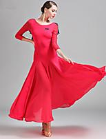 cheap -Ballroom Dance Dress Pleats Split Joint Women's Training Performance Long Sleeve Natural Chiffon Tulle Milk Fiber