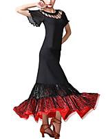 cheap -Ballroom Dance Dance Costumes Skirts Paillette Women's Training Performance Short Sleeve High Milk Fiber