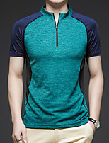 cheap -Men's T shirt Hiking Tee shirt Short Sleeve Tee Tshirt Top Outdoor Quick Dry Lightweight Breathable Stretchy Autumn / Fall Spring Summer Polyester Dark Grey Red Blue Fishing Climbing Camping / Hiking
