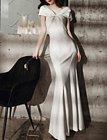 cheap -Mermaid / Trumpet Minimalist Sexy Engagement Formal Evening Dress V Neck Short Sleeve Floor Length Italy Satin with Sleek Bow(s) 2021