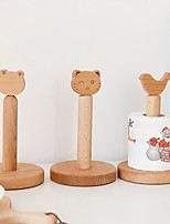 cheap -Solid Wood Small Animal Head Cartoon Roll Paper Holder Desktop Toilet Paper Towel Holder Low