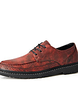 cheap -Men's Oxfords Casual British Daily Office & Career Walking Shoes PU Non-slipping Wear Proof Black Khaki Brown Color Block Fall Spring
