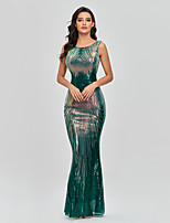 cheap -Mermaid / Trumpet Sparkle Sexy Party Wear Formal Evening Dress Jewel Neck Sleeveless Floor Length Sequined with Sequin 2021