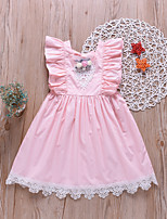 cheap -Kids Little Girls' Dress Flower Ruffle Blushing Pink Long Sleeve Active Dresses Summer Regular Fit 2-6 Years