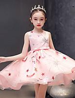 cheap -Princess / Ball Gown Jewel Neck Asymmetrical / Knee Length Tulle Junior Bridesmaid Dress with Sash / Ribbon / Bow(s)