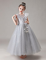 cheap -Princess / Ball Gown Crew Neck Floor Length Tulle Junior Bridesmaid Dress with Pleats / Ruffles / Appliques