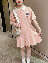 cheap -Kids Little Girls' Dress Cartoon School Yellow Blushing Pink Knee-length Short Sleeve Cute Dresses Children's Day Summer Regular Fit 3-13 Years