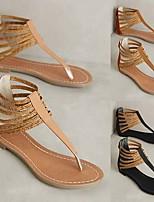 cheap -Women's Sandals Boho Bohemia Beach Flat Heel Round Toe PU Synthetics Black Yellow Orange