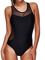cheap -Women's One Piece Diving Swimsuit Zipper Slim Solid Color Abstract Black Swimwear Bodysuit High Neck Bathing Suits New Neutral Sports