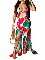 cheap -womens wide leg jumpsuits - floral print spaghetti strap halter v neck lace up high waisted split wide leg jumpsuits romper rose red m
