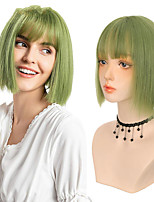 cheap -11-inch Synthetic Short Straight Bob Wig with Bang Heat Resistant Green Lolita Anime Cosplay Wigs for Women Daily Hair