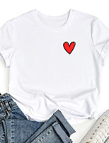 cheap -Women's T shirt Graphic Heart Print Round Neck Tops 100% Cotton Basic Basic Top White Black Blue