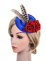 cheap -Retro Lace Fabric Fascinators with Feather / Floral 1 Piece Special Occasion / Party / Evening Headpiece
