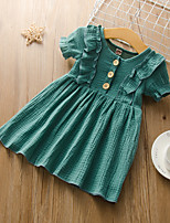 cheap -Kids Little Girls' Dress Solid Colored Ruffle Green Short Sleeve Active Dresses Summer Regular Fit 2-6 Years