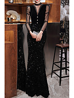 cheap -Mermaid / Trumpet Sparkle Sexy Engagement Formal Evening Dress High Neck Long Sleeve Floor Length Sequined with Buttons Sequin 2021