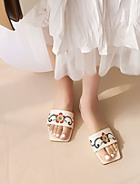 cheap -Women's Sandals Boho Bohemia Beach Chunky Heel Square Toe PU Synthetics Almond White Black