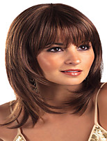 cheap -Synthetic Wig Natural Straight Neat Bang Wig Medium Length Dark Brown Synthetic Hair Women's Cosplay Party Fashion Dark Brown