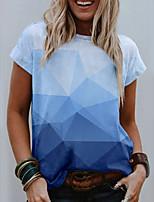 cheap -Women's T shirt Color Gradient Geometric Print Round Neck Tops Basic Basic Top Blue Blushing Pink Light Blue