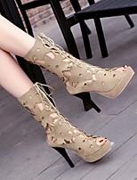cheap -Women's Boots Stiletto Heel Peep Toe PU Synthetics Black Brown Beige