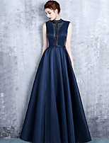 cheap -A-Line Beautiful Back Elegant Prom Formal Evening Dress Illusion Neck Sleeveless Floor Length Satin with Pleats Crystals 2021