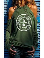 cheap -Women's T shirt Letter Long Sleeve Round Neck Tops Beach Basic Top Green