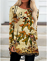 cheap -Women's T Shirt Dress Tee Dress Short Mini Dress Khaki Long Sleeve Color Block Animal Print Fall Spring Round Neck Casual 2021 S M L XL XXL 3XL