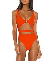 cheap -Women's One Piece Monokini Swimsuit High Waist Open Back Solid Color Orange Swimwear Padded Bathing Suits New Fashion Sexy