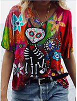 cheap -Women's T shirt Animal Ruffle Print V Neck Tops Boho Basic Top Red