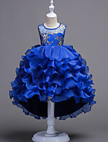 cheap -Princess / Ball Gown Jewel Neck Sweep / Brush Train / Asymmetrical Tulle Junior Bridesmaid Dress with Bow(s) / Appliques