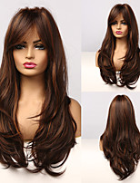 cheap -Synthetic Wig Curly Asymmetrical Wig Medium Length Dark Brown Synthetic Hair Women's Cosplay Party Fashion Dark Brown