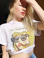 cheap -Women's T shirt Cartoon Graphic Letter Print Round Neck Tops Cotton Basic Basic Top White Black Purple