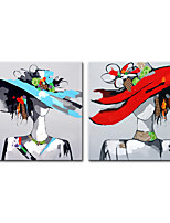 cheap -Oil Painting Hand Painted Square Abstract People Modern Rolled Canvas (No Frame)