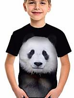cheap -Kids Boys' T shirt Short Sleeve Panda Animal Print Children Tops Active Regular Fit Black 5-12 Years