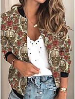 cheap -Women's Print Print Active Spring &  Fall Jacket Regular Daily Long Sleeve Air Layer Fabric Coat Tops Khaki