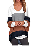 cheap -Women's T shirt Color Block Long Sleeve Round Neck Tops Basic Basic Top White