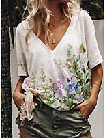 cheap -Women's T shirt Butterfly Floral Print V Neck Tops Cotton Basic Basic Top White