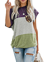 cheap -Women's T shirt Plain Pocket Round Neck Tops Basic Basic Top Purple Wine Light Brown