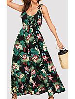 cheap -Women's Strap Dress Maxi long Dress Green Sleeveless Floral Print Spring Summer Round Neck Casual 2021 S M L XL