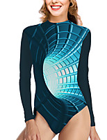 cheap -Women's New Vacation Fashion One Piece Swimsuit 3D Tummy Control Print Bodysuit Normal High Neck Swimwear Bathing Suits Blue / Party