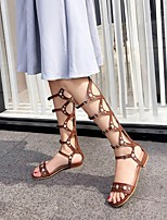 cheap -Women's Sandals Boho Bohemia Beach Roman Shoes Gladiator Sandals Chunky Heel Round Toe PU Synthetics Black Brown