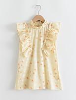 cheap -Kids Little Girls' Dress Graphic Ruffle Patchwork Print Yellow Sleeveless Basic Cute Dresses Regular Fit