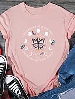 cheap -Women's T shirt Graphic Print Round Neck Tops 100% Cotton Basic Basic Top Black Purple Red