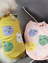 cheap -Dog Cat Shirt / T-Shirt Cartoon Basic Elegant Cute Dailywear Casual / Daily Dog Clothes Puppy Clothes Dog Outfits Breathable Yellow Pink Costume for Girl and Boy Dog Cotton S M L XL XXL