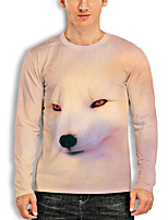 cheap -Men's Tunic 3D Print Graphic Fox Animal Print Long Sleeve Daily Tops Basic Casual Beige