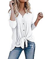 cheap -womens henley t shirts long short sleeve blouse front knot v neck button down loose tunic tops (small, white)