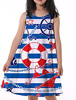 cheap -Kids Little Girls' Dress Geometric Print Blue Knee-length Sleeveless Active Dresses Summer Regular Fit 5-12 Years