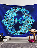 cheap -Wall Tapestry Art Decor Blanket Curtain Hanging Home Bedroom Living Room Color blue Polyester Fish
