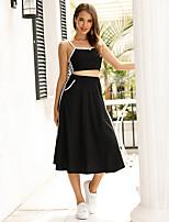 cheap -Women Basic Plain Daily Wear Festival Two Piece Set Crop Skirt Tops